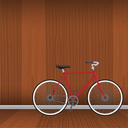 interrior: Bicycle with natural wood interrior background. Flat color style vector. Illustration
