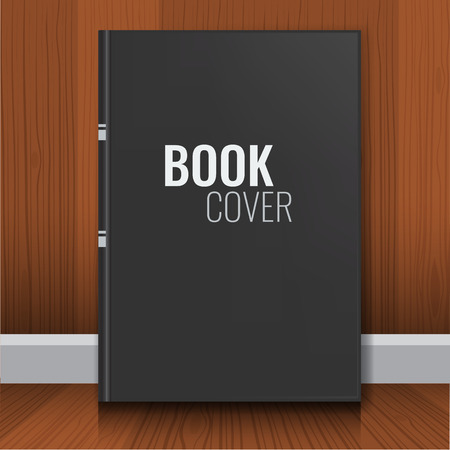 hard cover: Mockup of black book cover. Realistic Textbook, booklet, notepad or notebook for your design and branding with wood wall background.