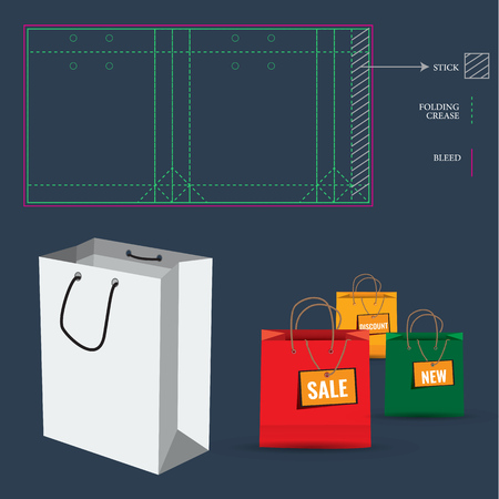 die: Shopping Paper Bag with Die Cut Layout template. Cut and fold lines. Double paper protected holes. Illustration