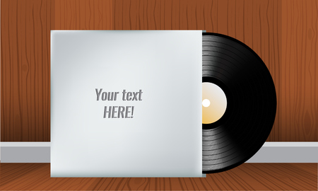 record cover: Vector Vinyl record in blank cover envelope with wood interior background. Room empty place for your text. Vector illustration