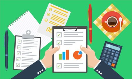 calculate: Businesman holding paper sheet in hands, paperwork, consultant, financial audit, financial research report, auditing tax process, data analysis, seo analytics, market stats calculate in vector
