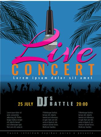 live concert: Summer Beach live concert and DJ Party Flyer or poster with flat color style design. Vector concert party advertising poster template design.