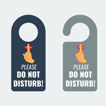 or not: Do not disturb. Door hanger. Keep quiet and shhh sign. Illustrated Vector.
