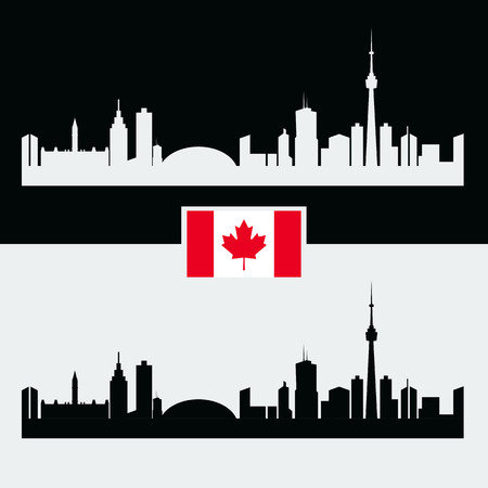 quebec city: Canada silhouette with Canadian famous city buildings. Black and white and Flag of Canada Illustration