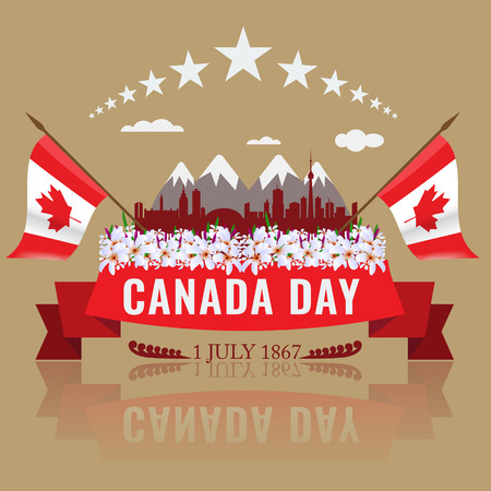 relating: 1 July Happy Canada day with Canadian waving flag silhouette of Canada and mountains. Floweres in bottom and red ribbon. Poster or Cover template design relating Canada concept