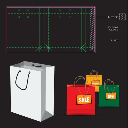 package printing: Shopping Paper Bag with Die Cut Layout template. Cut and fold lines. Double paper protected holes. Illustration