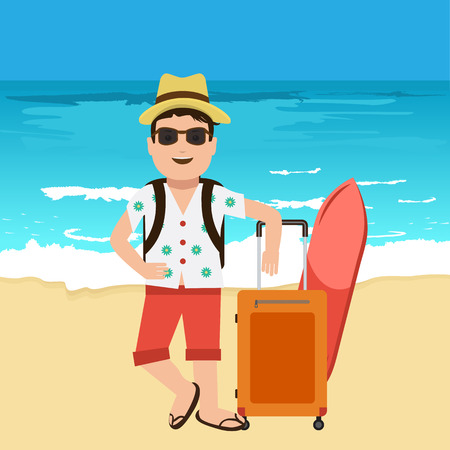 surf board: Happy handsome tourist mascot. Creative flat vector illustration. Nice blue sea or ocean with yellow sand with travel bags. Surf Traveller with sunglasses and hat