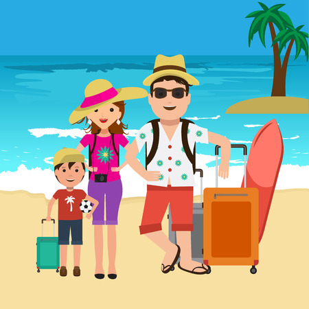 Vector illustration of happy family going on surf vacation. Beach and palm trees travel bags. Ilustração