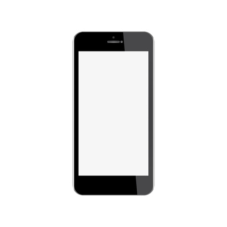 modern palmtop: Realistic mobile phone with blank screen isolated on white background. Illustration