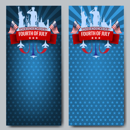 vapor trail: Fourth of July. Independence day background with red ribbon and waving USA flag. Vector illustration. Military jet planes with vapor trail