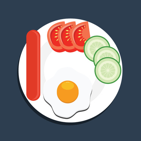 Top view eggs sausage tomato and cucambers on a white plate. Breakfast vector illustration. Illustration