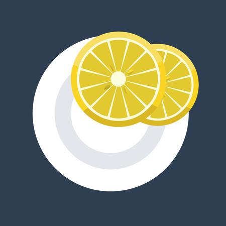 Vector illustration of two wedges of lemon slice on plate. Flat design mock up top view