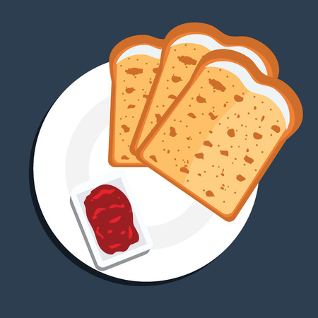 fryed: Vector illustration of toast bread slices on a plate with jam. Toast bread slices with top view and flat color style.