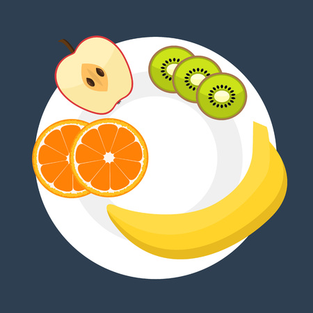 consept: Diet vector flat style concept isolated on white background. Eating natural products, fruits and vegetables. Apple, banana, orange, kiwi on a plate. Healthy food consept. Healthy food mockup Illustration