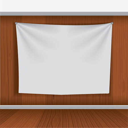 plackard: Background for poster mockup with realistic fabric curtain hang on wood wall. Unique and creative background idea for your design.