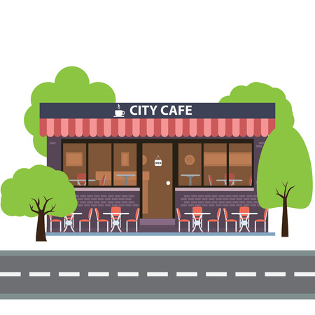 restaurant icons: Cafe building. Summer terrace. Element for construction of urban and village landscapes. Vector flat illustration