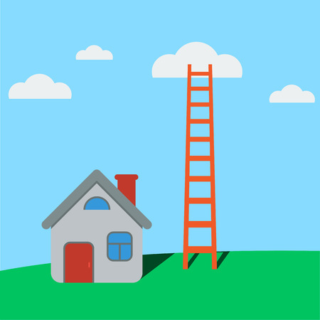 Ladder to clouds and cartoon style house on green grass with flat color design. Vector minimalistic design competition concept.