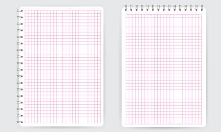 En blanco realista libreta de espiral con líneas de la cuadrícula de matemáticas cuadrado delgadas de color rosa aisladas en blanco vector. Pantalla maqueta.