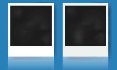 printed material: Illustrated realistic photo frame with shadow and reflection. Vector design
