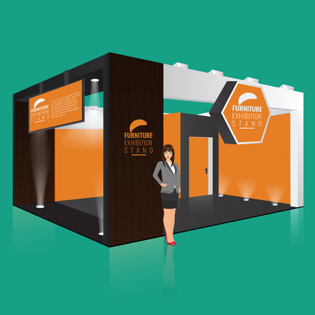 stand display: Creative exhibition stand display design with info board. Booth template. Corporate identity. Display Mock-up. Vector Mock up. Unique Trade booth template with beam light effect. Illustration
