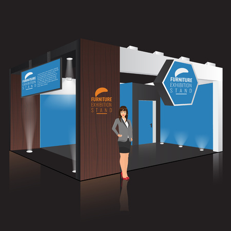 stand display: Creative exhibition stand display design with info board. Booth template. Corporate identity. Vector Mock up. Unique Trade booth template with beam light effect. Business lady standing Illustration