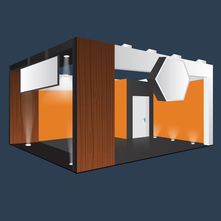 Kreative Ausstellung Display-Design mit Infotafel stehen. Booth Vorlage. Unternehmensidentität. Möbel aus Holz Material. Vector Mock up. Einzigartige Messestand Vorlage mit Strahllichteffekt.