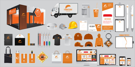 Set of Corporate identity and stationery elements. Vector promotional gift objects. Display mock up of promo objects. Documentation and template for business.