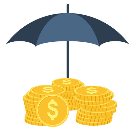 financial savings: Money under umbrella protection. Vector illustration isolated on white background. Insurance concept of money protection, financial savings, secure business economy. Umbrella and golden coins money Illustration