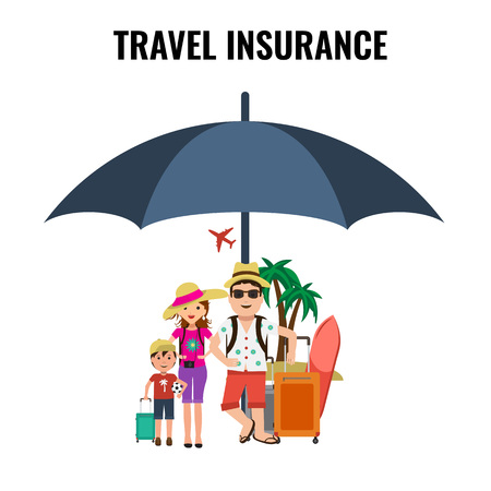 family policy: Travel Insurance Concept for Poster with family traveling and umbrella protecting them. Advertising design.