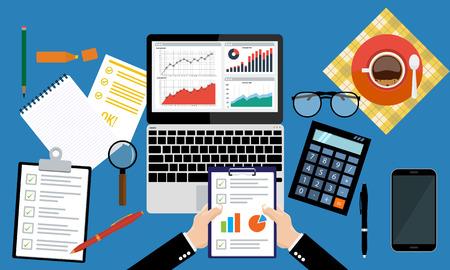 Homme d'affaires tenant une feuille de papier dans les mains, la paperasserie, consultant, audit financier, rapport de recherche financière, le processus d'imposition de l'audit, l'analyse des données, l'analyse de seo, statistiques du marché calculer dans le vecteur Vecteurs