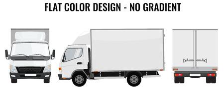ciężarówka: Wektor mała ciężarówka widok z przodu widok z tyłu iz boku. Dostawa ładunków. Solidna konstrukcja i płaska kolor. Biały samochód ciężarowy samochód dla transportu. Tożsamość zbiorowa. Ilustracja