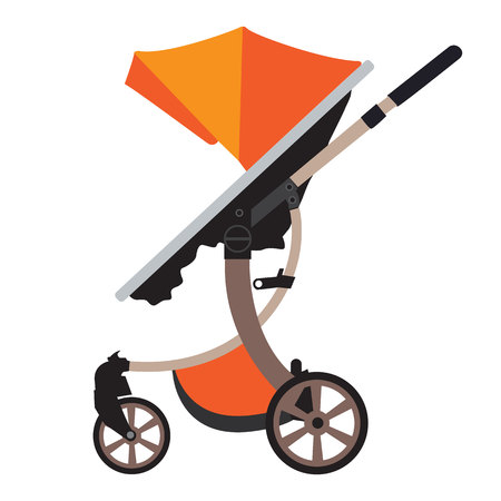 Moder vector Baby Stroller with new design. Flat and solid color design Illustration