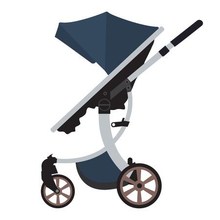 solid color: Moder vector Baby Stroller with new design. Flat and solid color design. Blue color for boys Illustration