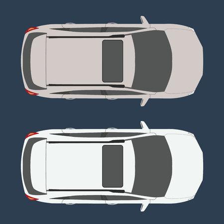 Auto bovenaanzicht. Realistisch en vlakke kleur stijl ontwerp vector. Gemakkelijk om de kleur te veranderen