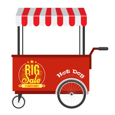 street vendor: Fast food hot dog cart and street hot dog cart with awning. Kiosk Hot dog seller cart street food market, hot dog cart stand vendor service. Big sale with ribbon and line stars label on it