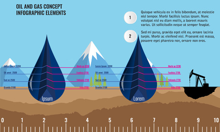 cut off: Oil and gas infographic design elements. 3d cut off Oil drops and soil ground and underground layers. Mountain background. Oil pump Illustration