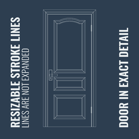 doorhandle: Vector Closed Door with Frame with resizable stroke lines. Modern thin outline with resizable thick of lines. Door is in most exact detail and isolated background.