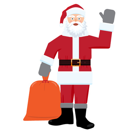 Santa claus with big sac of gifts isolated. Flat and solid color design. Illustration