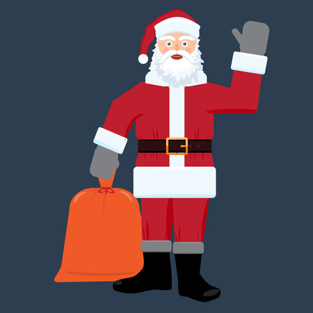 sac: Santa claus with big sac of gifts isolated. Flat and solid color design. Illustration