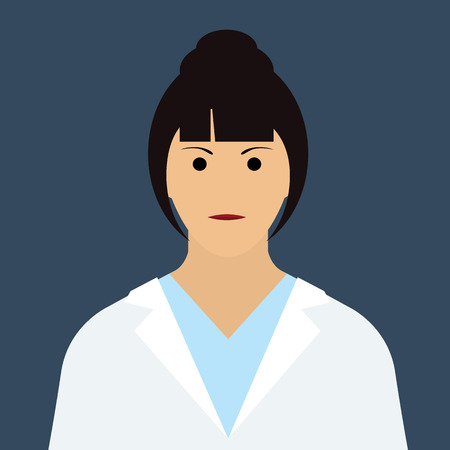 Woman Doctor Icon. Woman face with dark hair Flat Vector Illustration