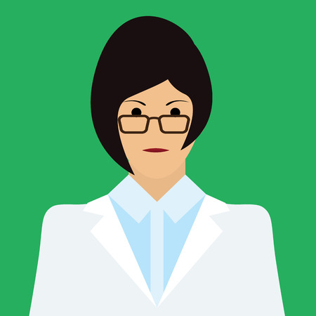 medico: Woman Doctor Icon. Woman face with dark hair Flat Vector Illustration