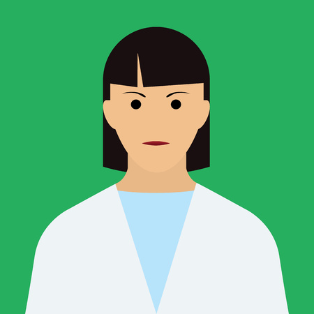 trainee: Woman Doctor Icon. Woman face with dark hair Flat Vector Illustration