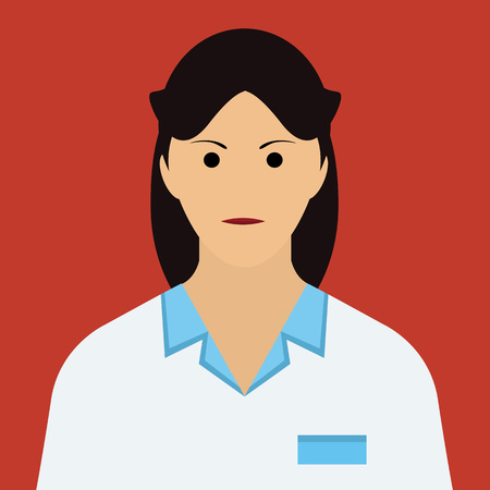 dark hair: Woman Doctor Icon. Woman face with dark hair Flat Vector Illustration