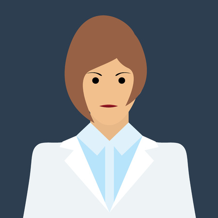 Woman Doctor Icon. Woman face Flat Vector Illustration