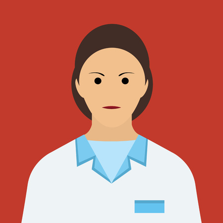 md: Woman Doctor Icon. Woman face Flat Vector Illustration