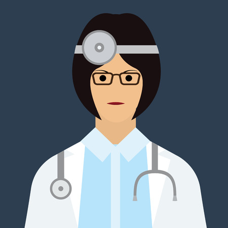 girl stethoscope: Woman doctor with stethoscope icon. Vector Illustration of female doctor with flat color style