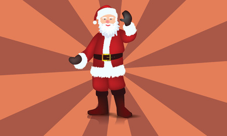 Illustrated Santa Claus with reflection and shadow, vector. Illustration