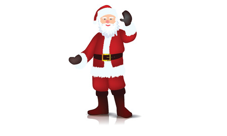 Illustrated Santa Claus with reflection, shaking hand, vector