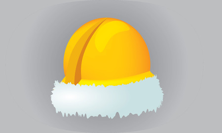 Illustrate vector construction cap, hardhat with christmas theme