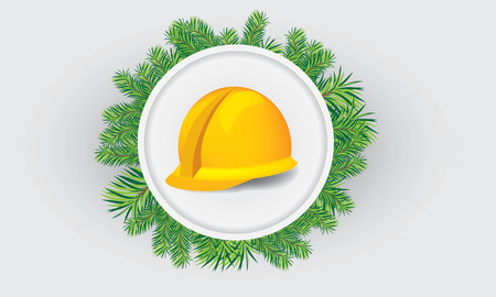 mine site: Illustrate vector construction cap, hardhat with christmas theme, in the middle of circle of fir-tree leafs Illustration